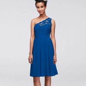 David's Bridal Short One Shoulder Lace Dress Blue